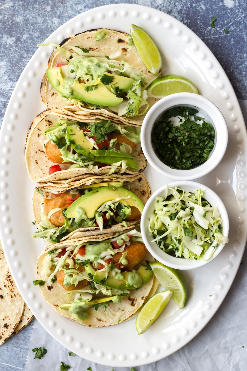 crispy baja fish tacos with cabbage slaw and cilantro