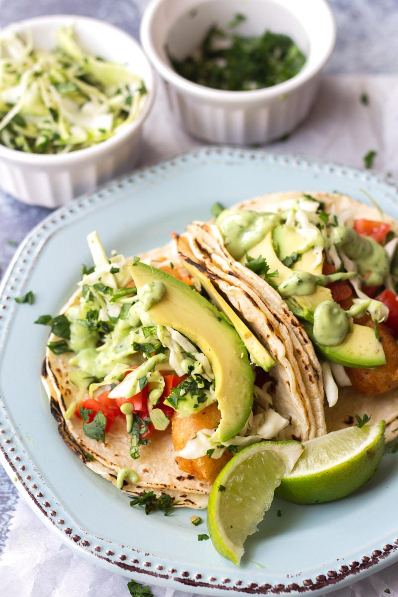 baja fish tacos on plate