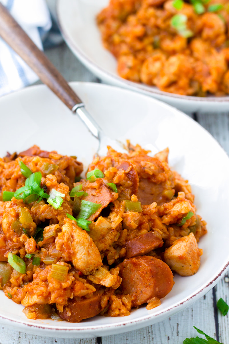 one pot chicken and sausage jambalaya on plate