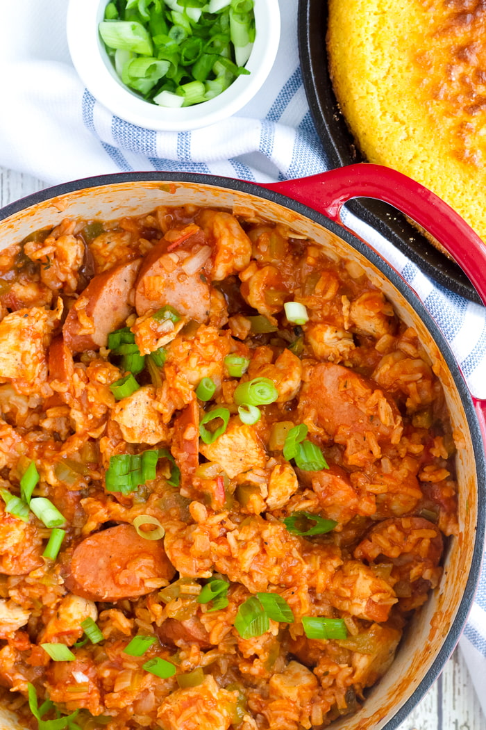 one pot jambalaya with corn bread and scallions