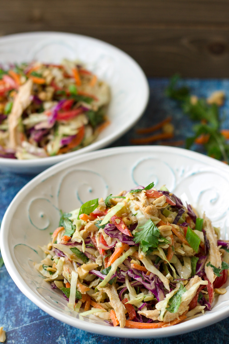 asian chicken slaw salad with peanut butter dressing