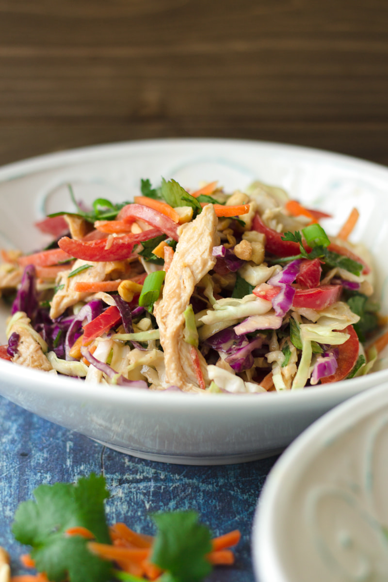 asian chicken coleslaw salad with peanut butter dressing