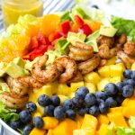 tropical shrimp salad with fruits and orange poppyseed dressing