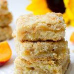 stacked apple peach crumb bars