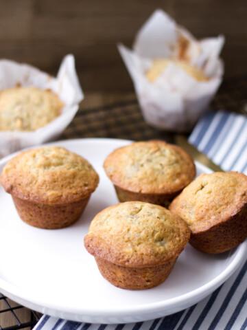 banana walnut muffins with maple walnuts