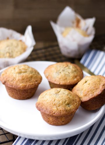 banana walnut muffins with maple walnuts