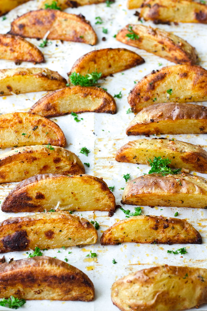 baked potato wedges out of the oven