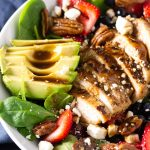 strawberry and spinach salad with chicken and maple balsamic dressing