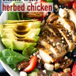 Strawberry Spinach Salad with Grilled Chicken and Avocado