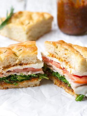 turkey mozzarella sandwich with rosemary focaccia bread