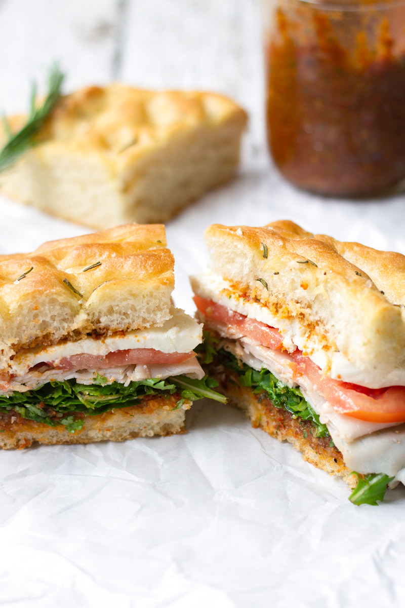 turkey mozzarella sandwich with rosemary focaccia bread