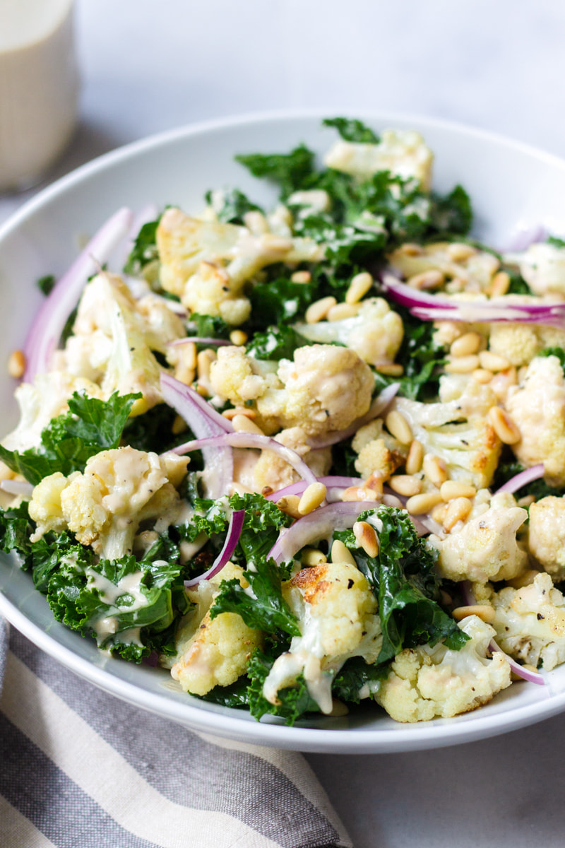 cauliflower and kale salad with tahini dressing
