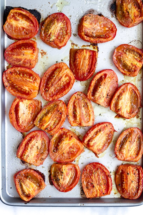 roasted tomatoes on sheet pan