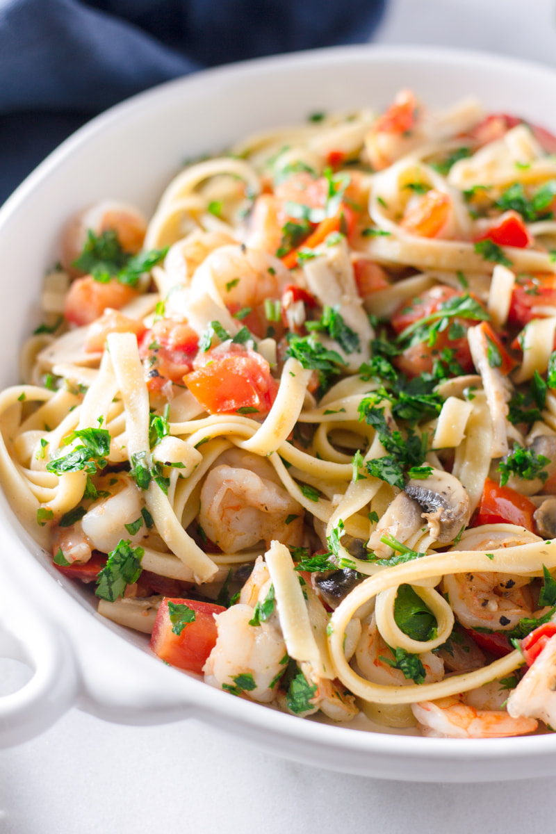 shrimp fettuccine with tomatoes