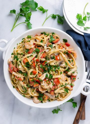 easy shrimp pasta with tomatoes