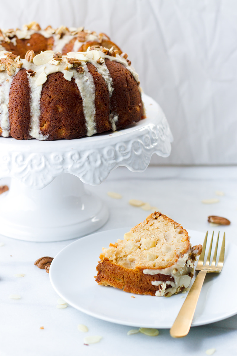 moist apple cake with pecans