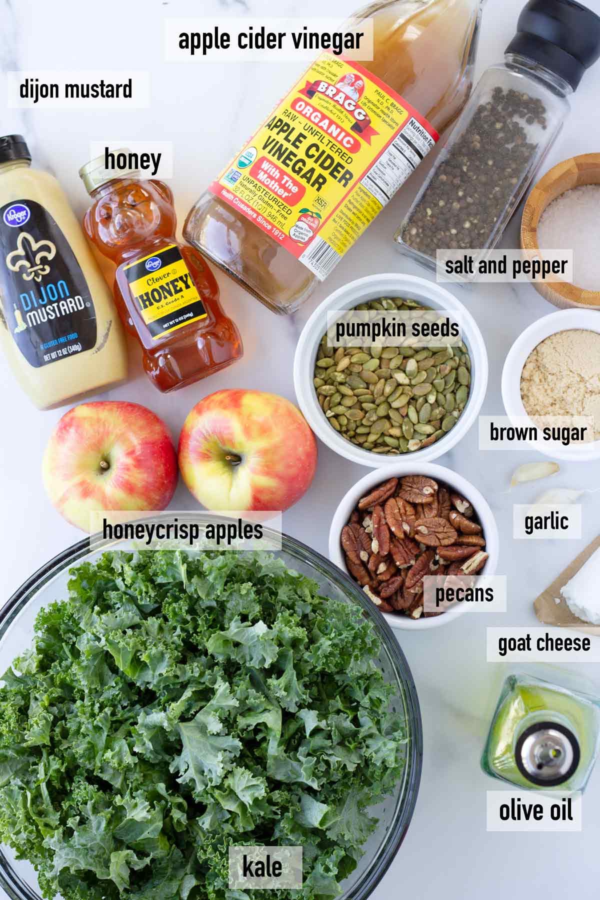 labeled ingredients to make apple kale salad