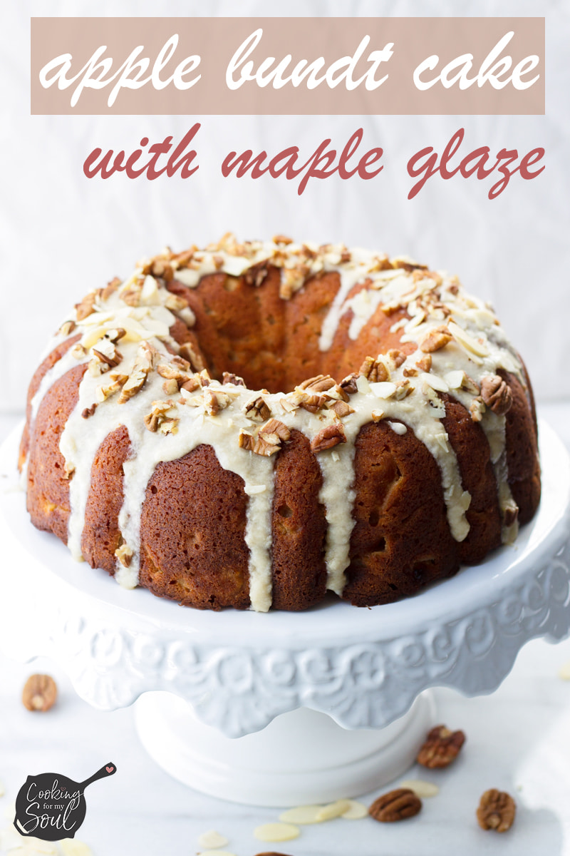 easy apple cinnamon bundt cake with pecans and almonds