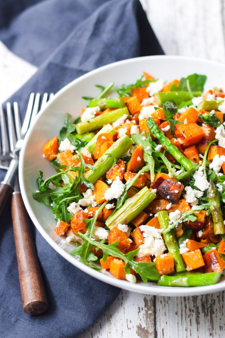 healthy sweet potato and asparagus salad