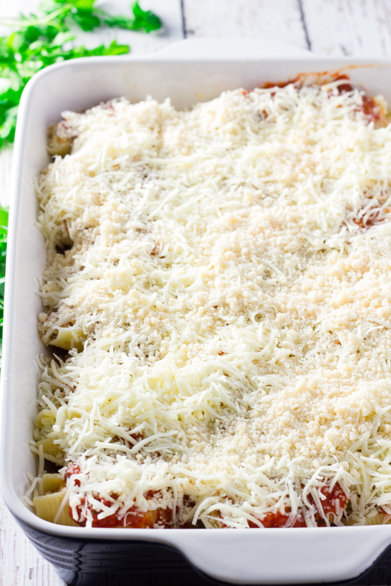 stuffed pasta shells topped with cheese