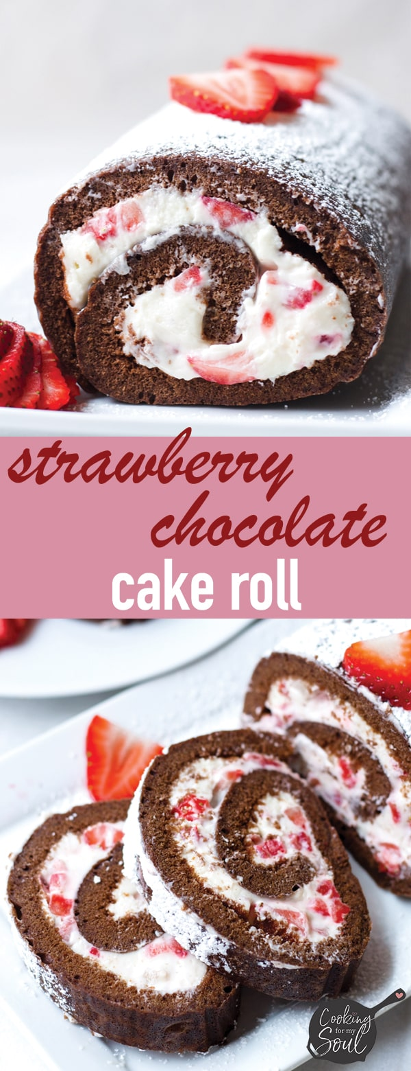 Easy Chocolate Cake Roll with Strawberry and Cream Cheese Filling