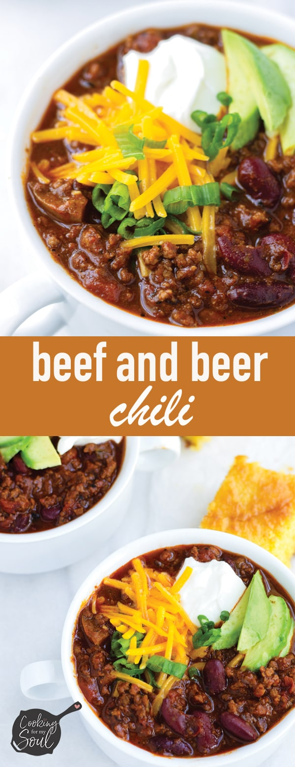 Easy Beef and Beer Chili with Cornbread