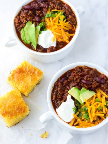 One Pot Beef and Beer Chili with Cornbread