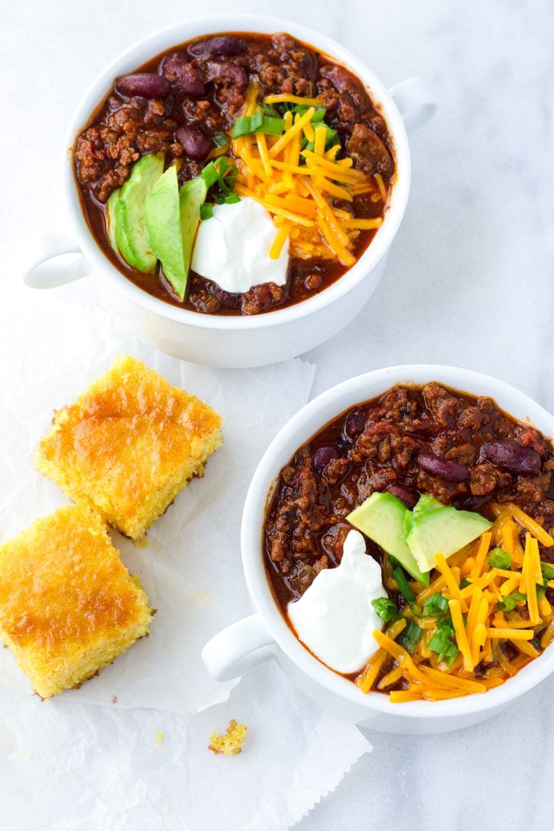 Easy One Pot Beef and Beer Chili with Cornbread