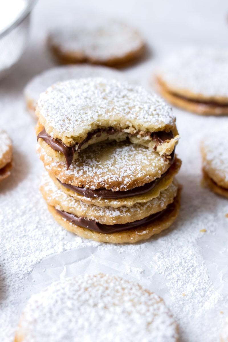 Hazelnut Shortbread Cookies with Chocolate