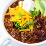 Beef and Beer Chili with Avocado