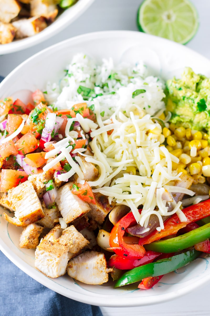 Chicken Fajita Bowls with Cilantro Lime Rice