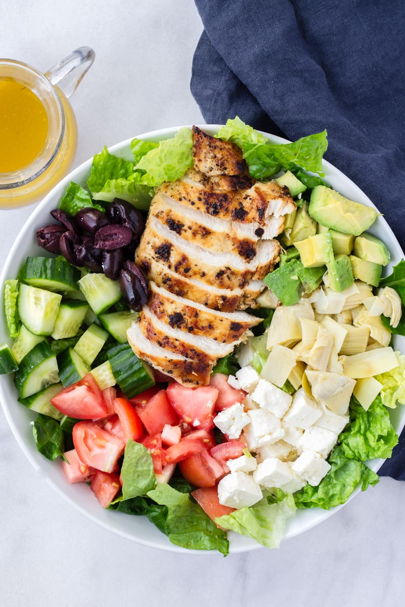 Mediterranean Chicken Salad with Red Wine Dressing