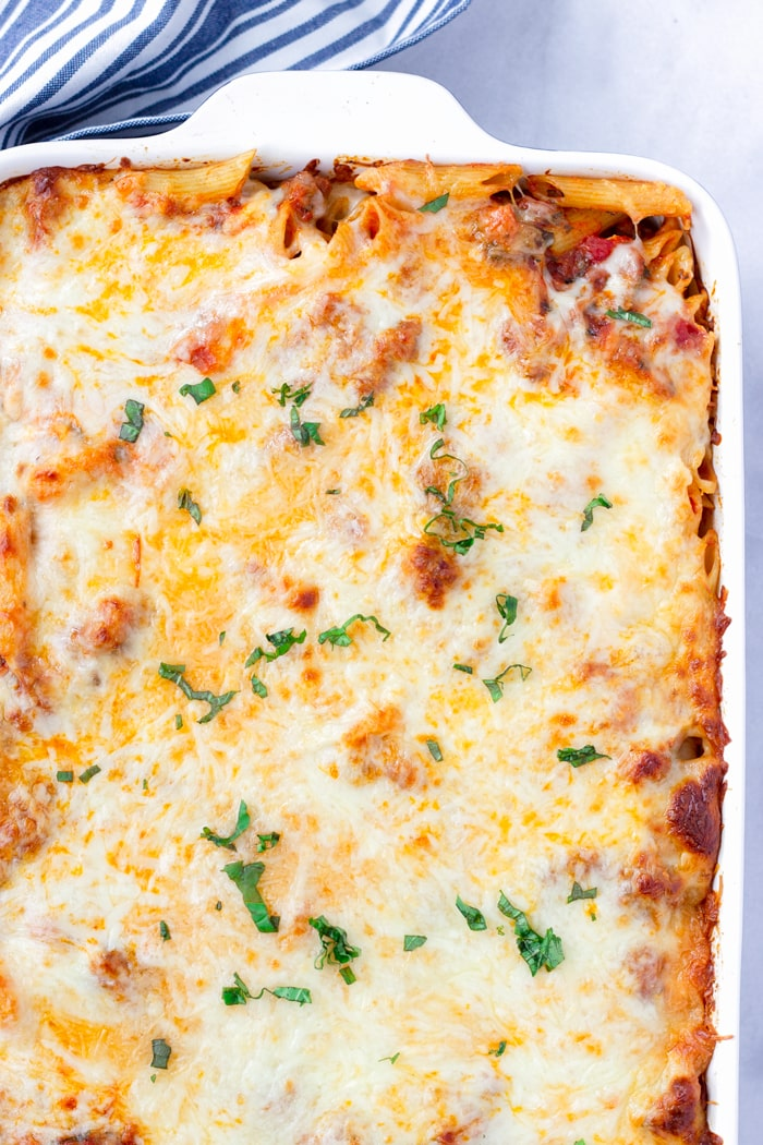 Easy Sausage Baked Penne with Marinara and Cheese