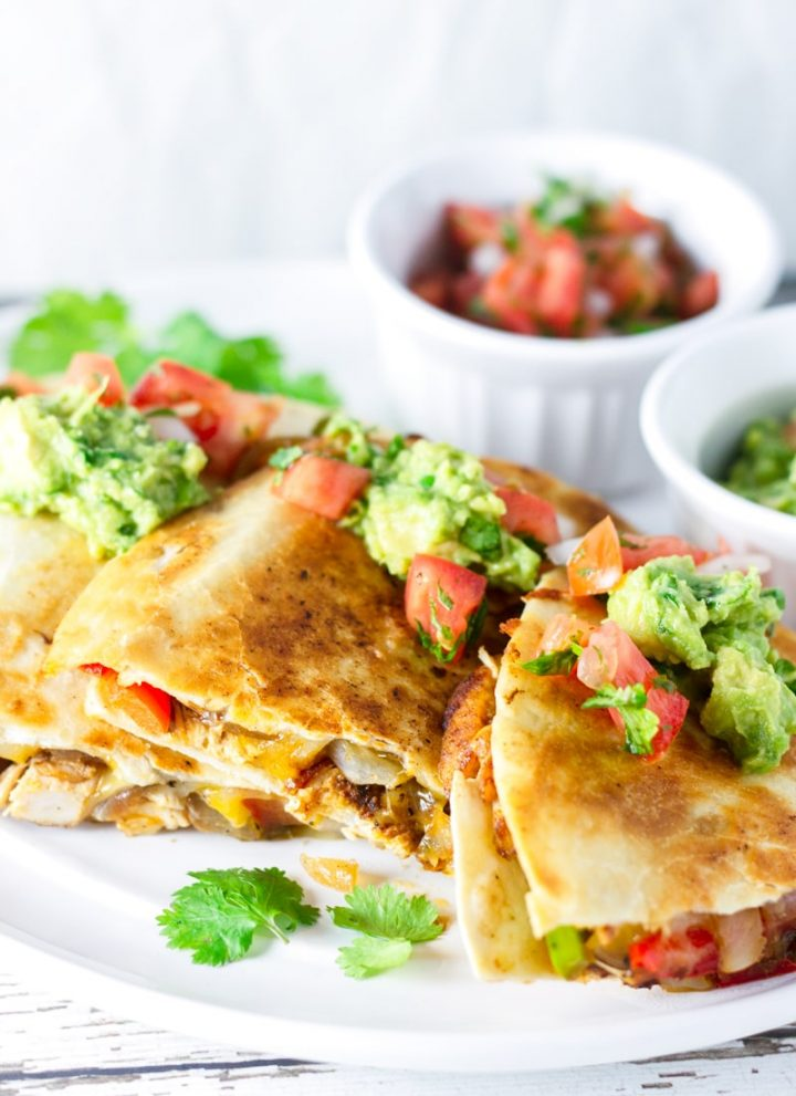 Authentic Chicken Quesadillas with Guacamole
