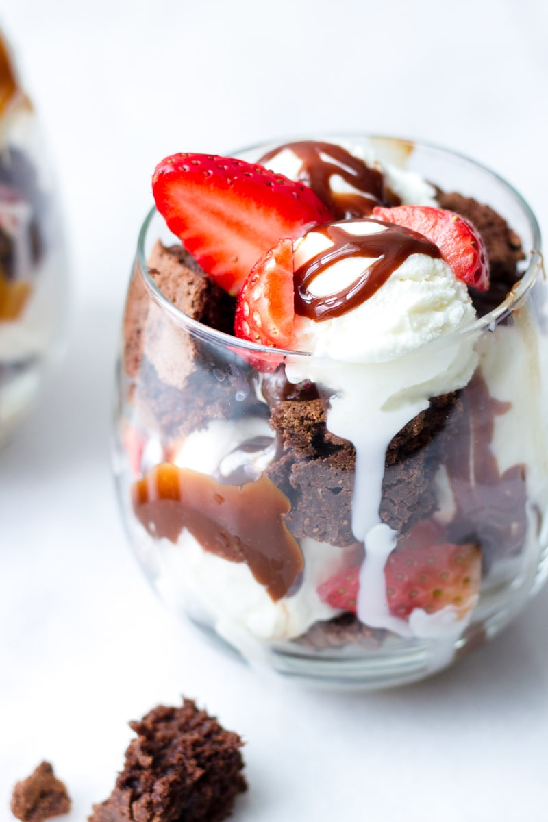 Brownie Hot Fudge Sundae with Strawberries