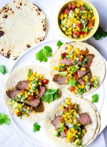 Grilled Skirt Steak Tacos with Corn Salsa