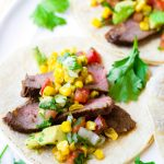 Grilled Flank Steak Tacos with Corn Salsa and Avocado