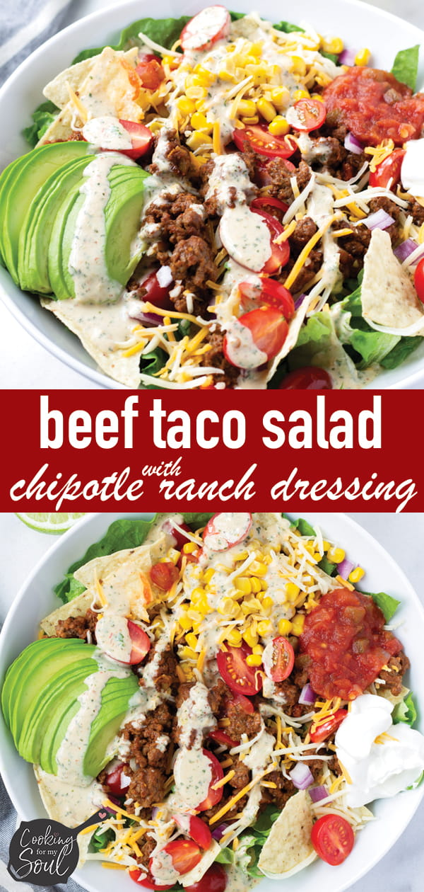 Beef Taco Salad with Chipotle Dressing