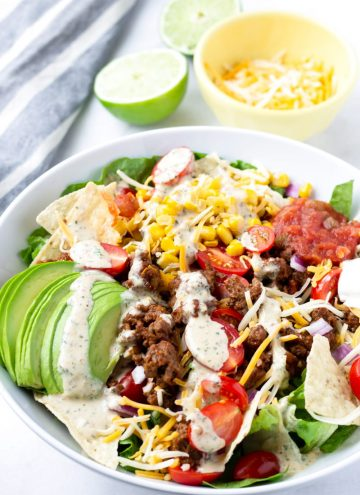 Beef Taco Salad with Chipotle Ranch Dressing