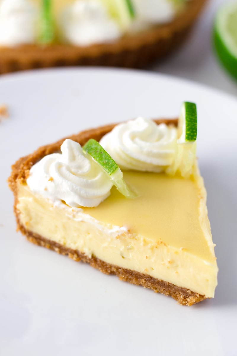 A Slice of Key Lime Pie Made with Graham Crust