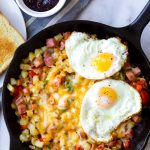 American Potato Breakfast Skillet with Two Fried Eggs