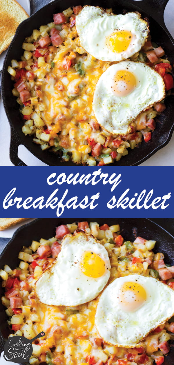 Cast Iron Skillet Potatoes, Bell Peppers, Ham, with Eggs
