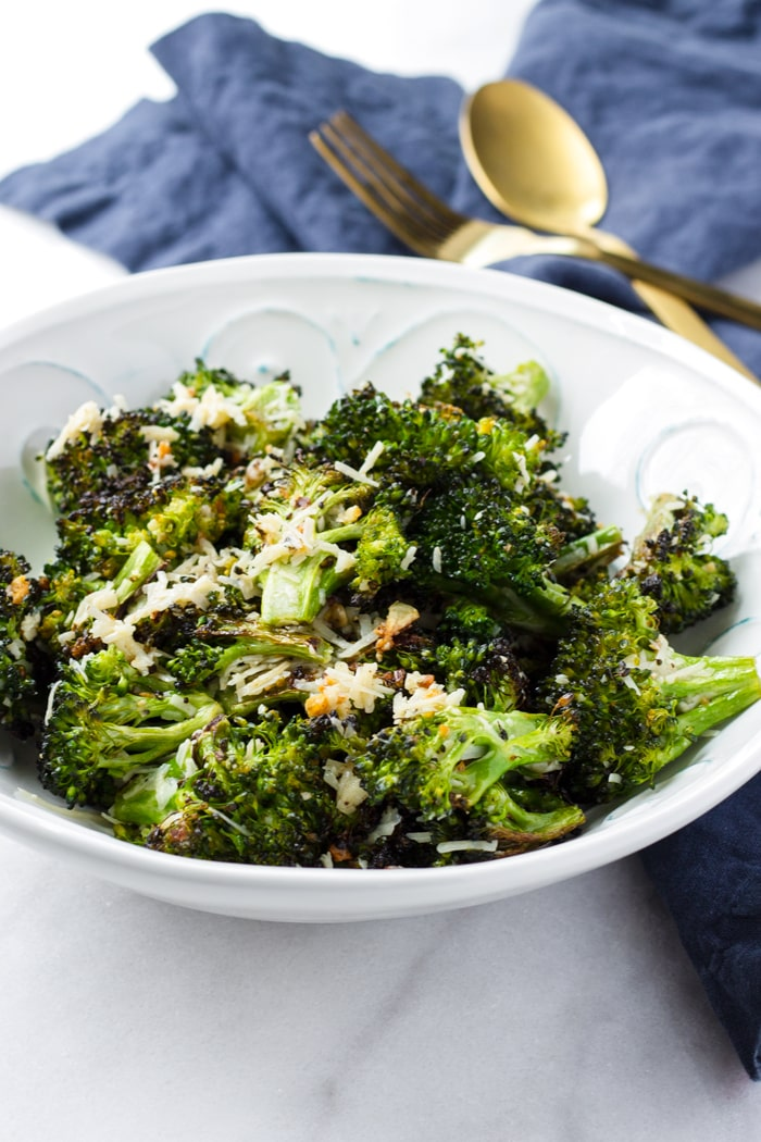 Broccoli Florets Roasted with Garlic on a Bowl