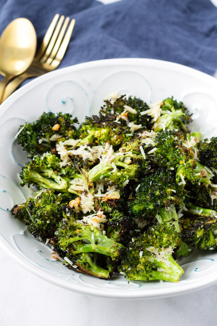 Roasted Broccoli Florets with Shredded Parmesan Cheese