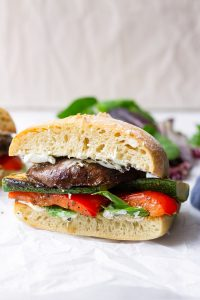 Grilled Vegetable Sandwich with Goat Cheese on Ciabatta