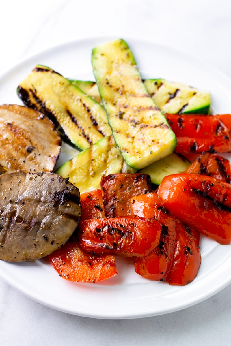 Platter of Grilled Bell Peppers, Zucchini, and Portobello Mushrooms