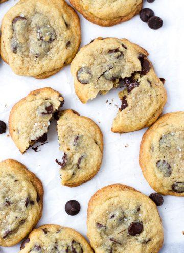 Sea Salt Chocolate Chip Cookies Split