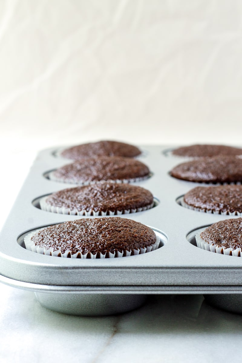 Batch of Moist Chocolate Cupcakes in Muffin Pan
