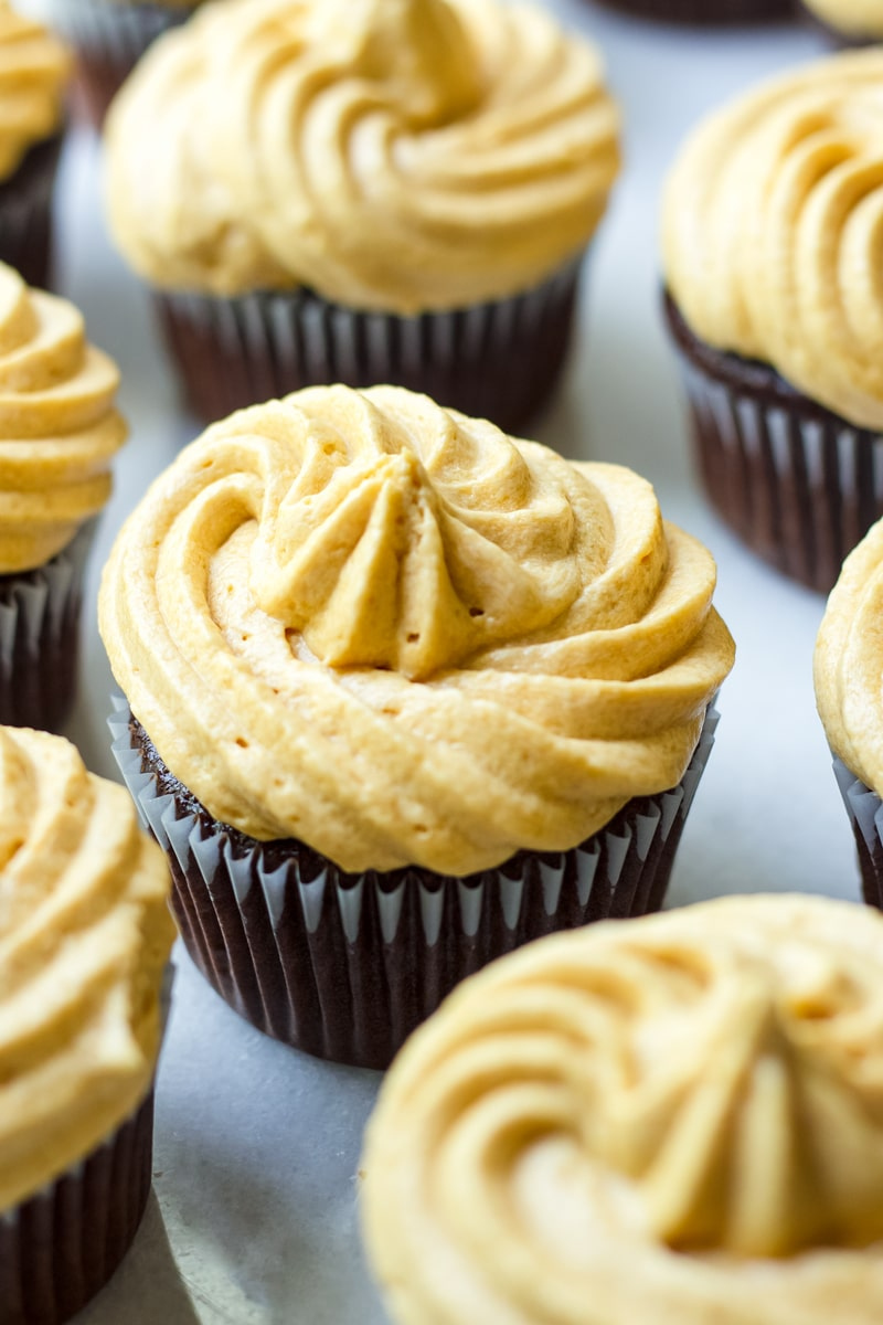 Chocolate Cupcakes Frosted with Milk Caramel