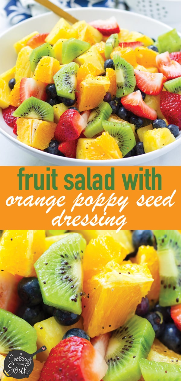 Strawberry, Kiwi, and Pineapple Fruit Salad with Orange Poppy Seed Dressing